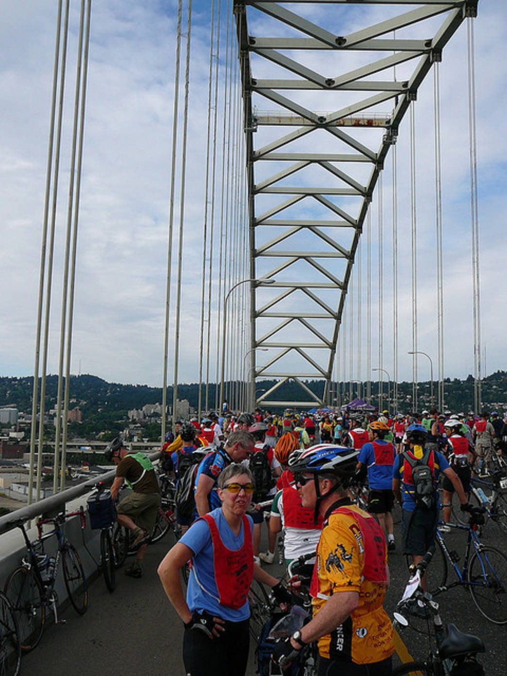The Providence Bridge Pedal affords cyclists the rare opportunity to ride across the Fremont Bridge.
