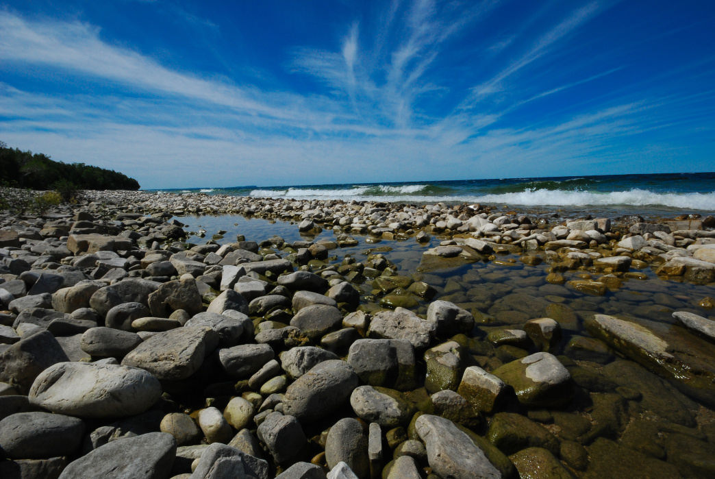 A rocky beach on Door County's Washington Island.