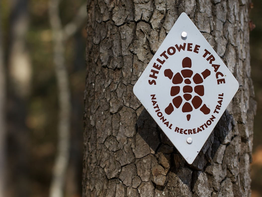 The trail markers on the Sheltowee Trace Trail honor Daniel Boone.