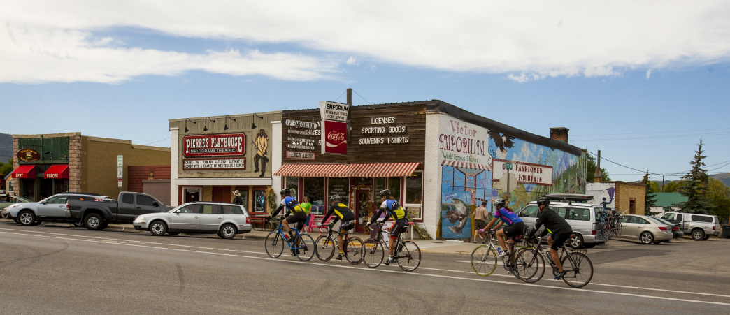 Riding through the downtown area not far from camp.     Cycle Greater Yellowstone