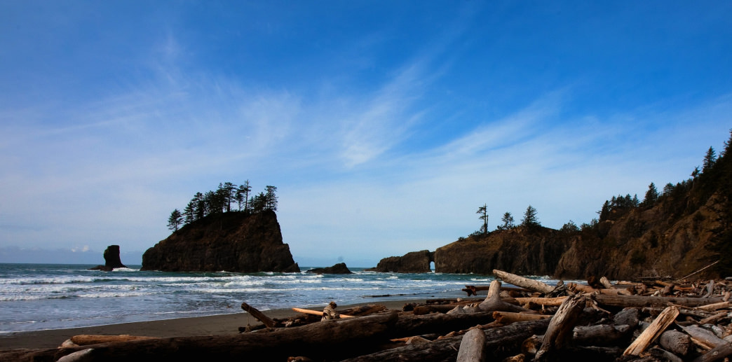 Sea stacks at Second Beach along the wild coast of Olympic National Park