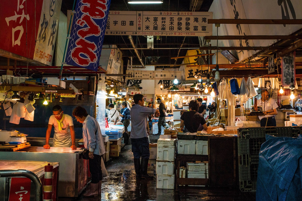 The Tsukiji market showcases the best of Japan's seafood offerings.