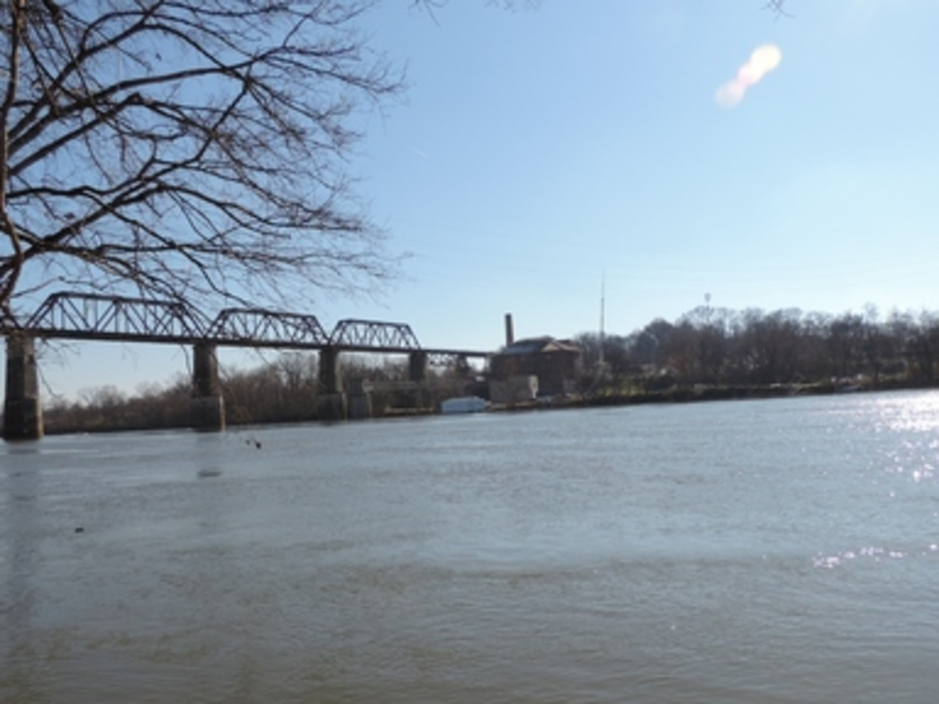 The railroad bridge at Shelby Bottoms marks a good turn around point for the paddle
