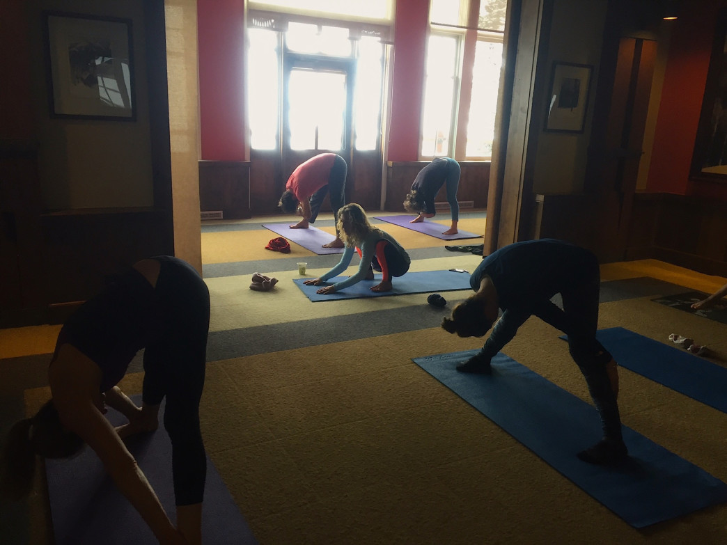 Sundeck yoga happens in a cozy room with a big view