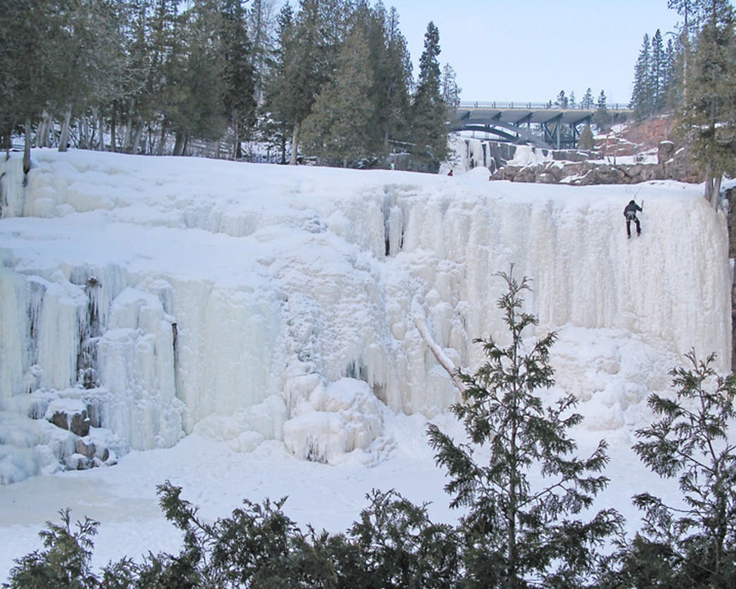 Gooseberry State Park features spectacular frozen falls in the winter.
