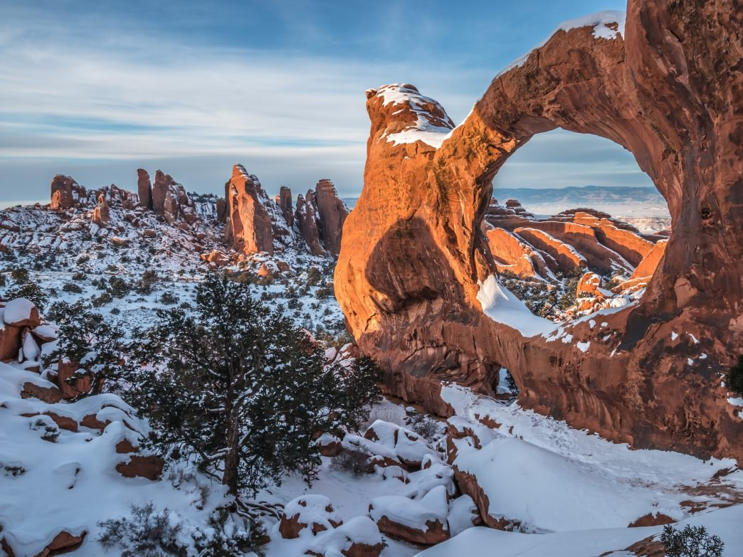 Arches National Park is even more stunning under a blanket of snow.