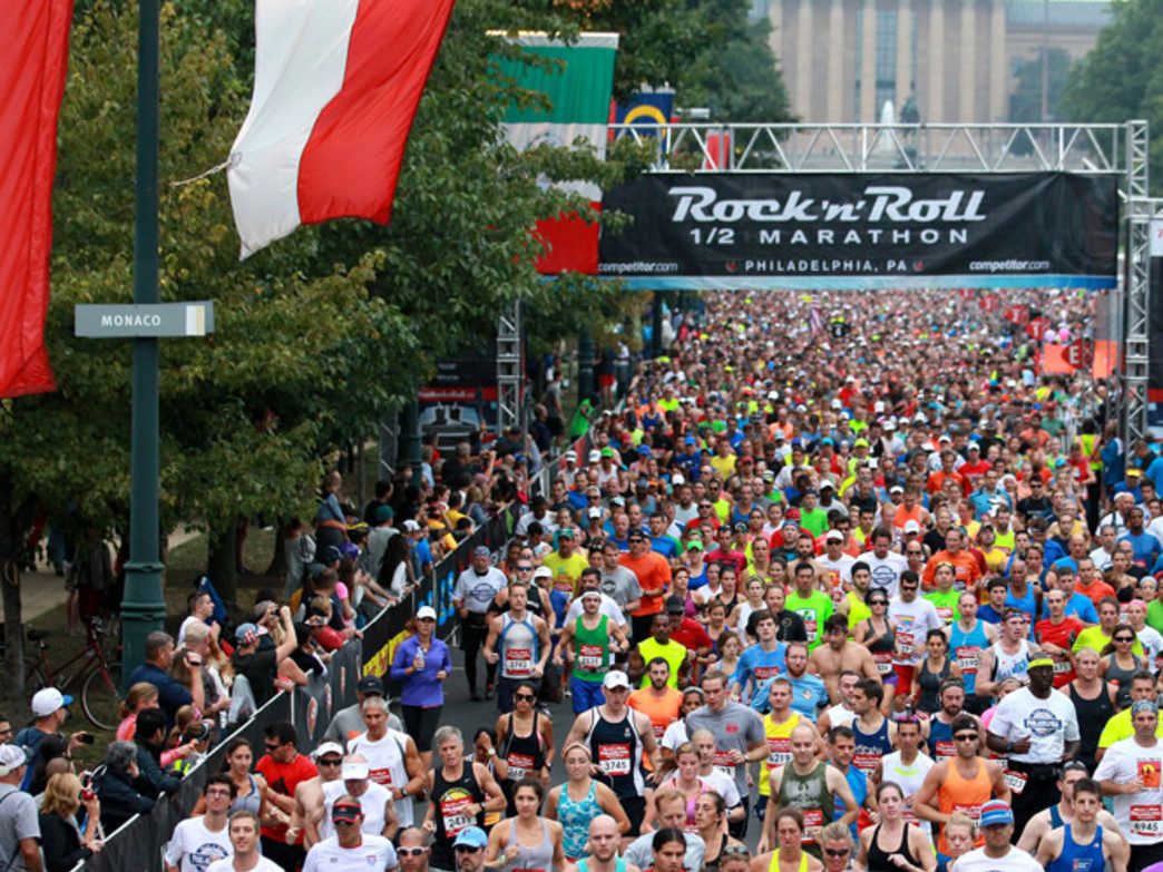 The start of the Rock 'n' Roll Philly Half Marathon.
