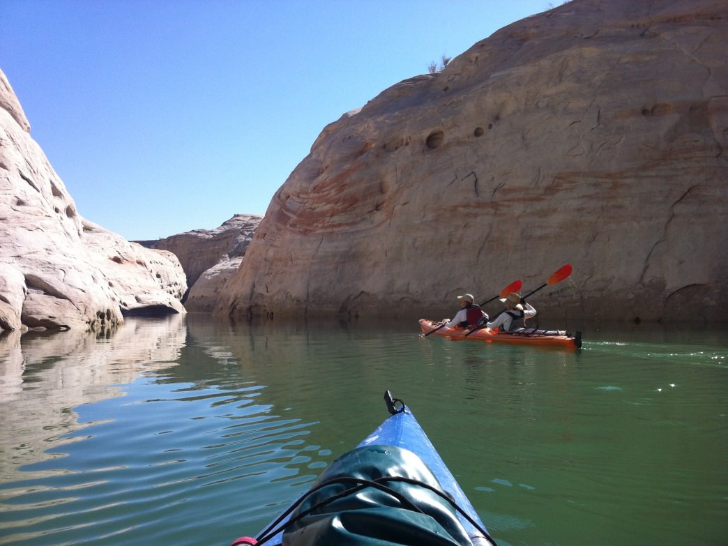 Kayaking into the Lake Powell's quiet side canyons is a great way to escape the big-boat crowd.&lt;br /&gt;&lt;br /&gt;&lt;br /&gt;&lt;br /&gt;&lt;br /&gt;&lt;br /&gt;&lt;br /&gt;<br />     Beth Lopez