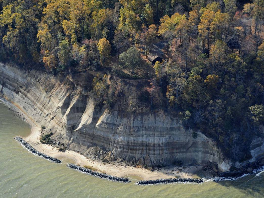 An aerial view of Westmoreland's spectacular cliffs on the Potomac River.