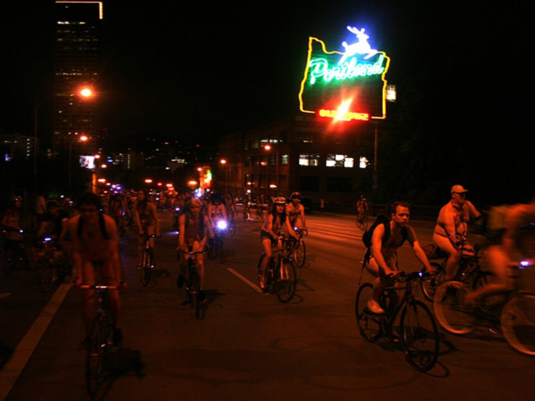 The World Naked Bike Ride is the second-largest organized ride in Portland each year.