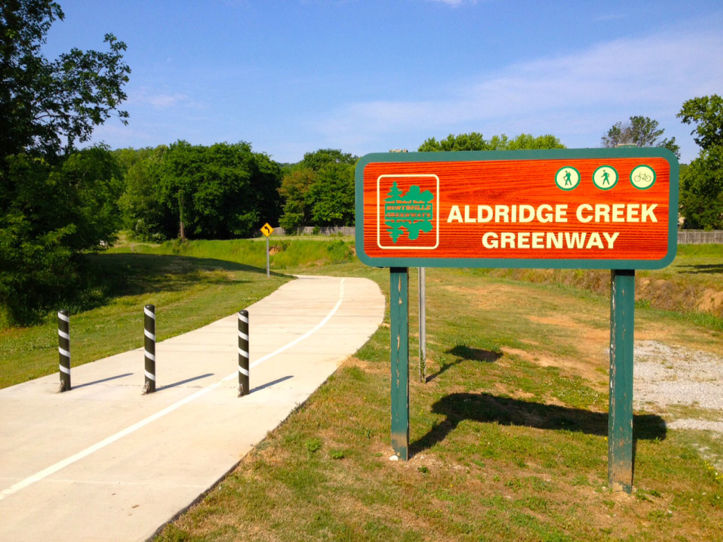 An entrance to the Aldridge Creek Greenway connects you with everything southeast Huntsville has to offer.