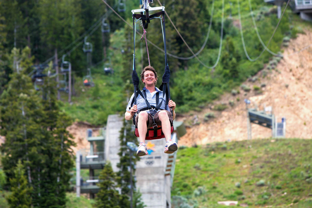 Visitors to Utah Olympic Park can choose from several different zipline rides.