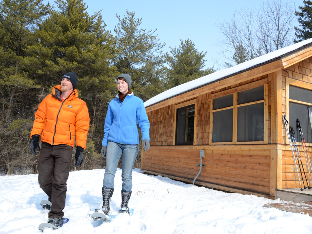 Cabins include electric heat and the yurts feature indoor wood stoves to keep you warm.