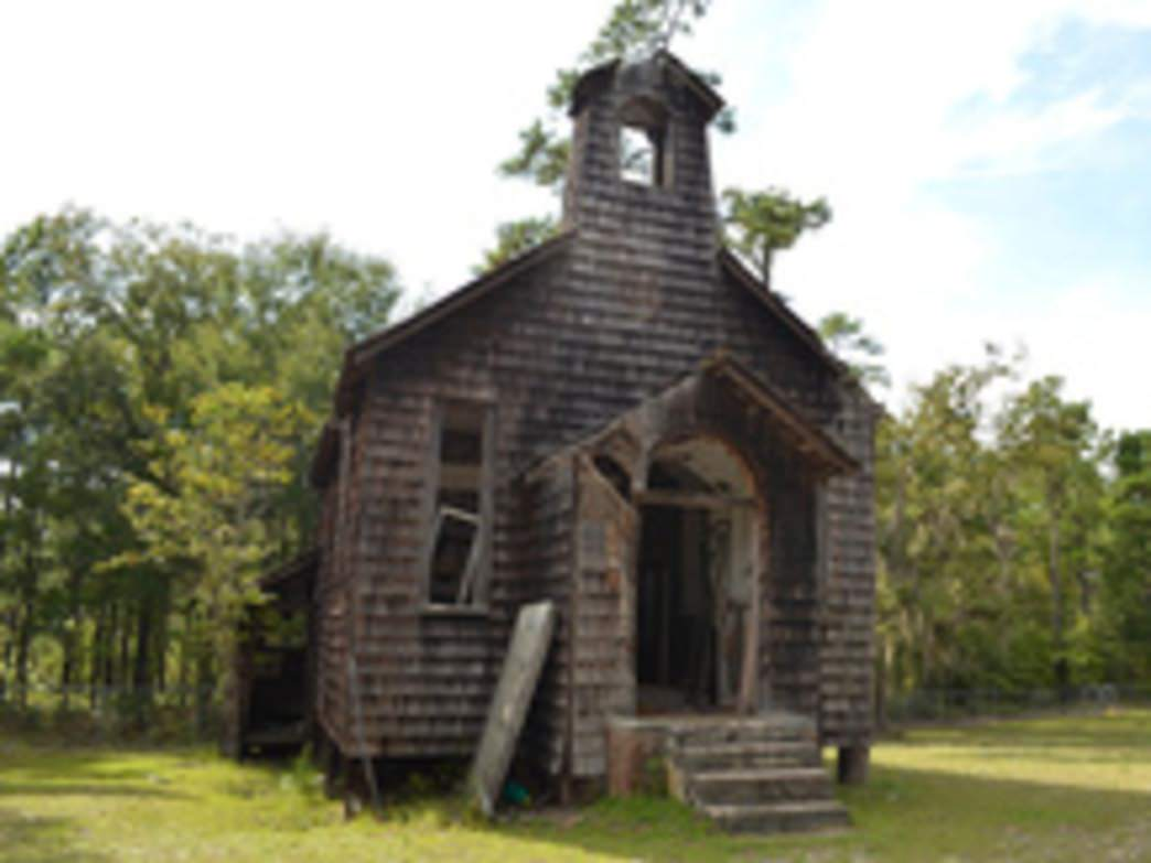 An abandoned church in the Francis Marion National Forest