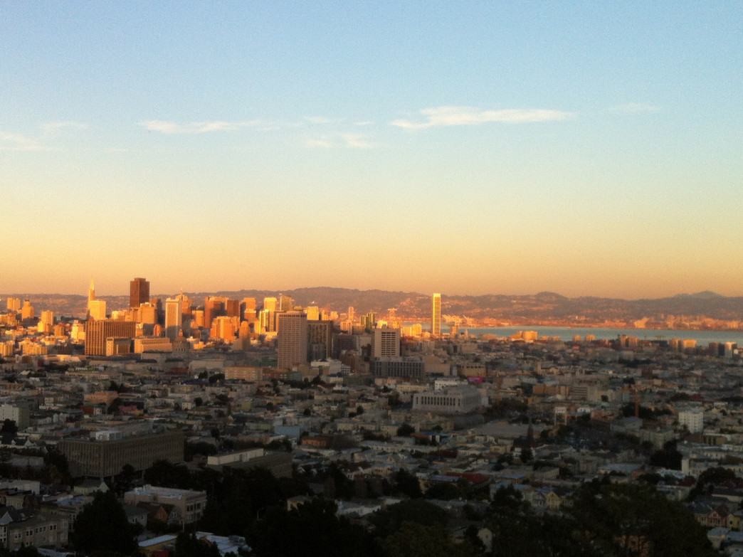 The sunrise is serene from Corona Heights Park.