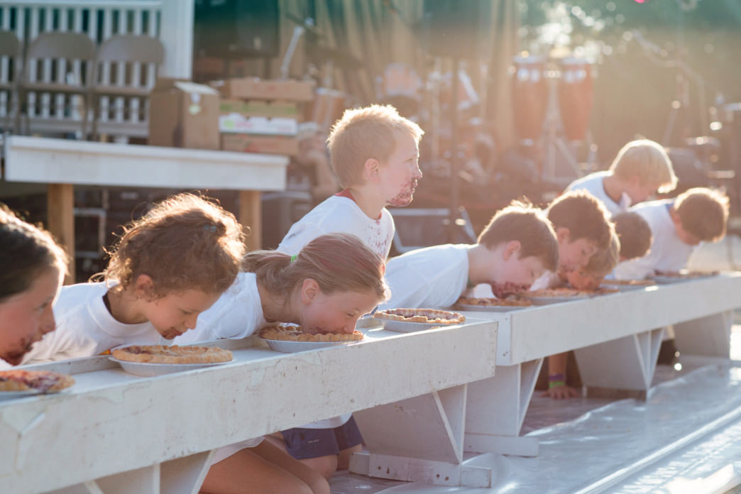 The Maine wild blueberry pie eating contest is a highlight of the Union Fair.