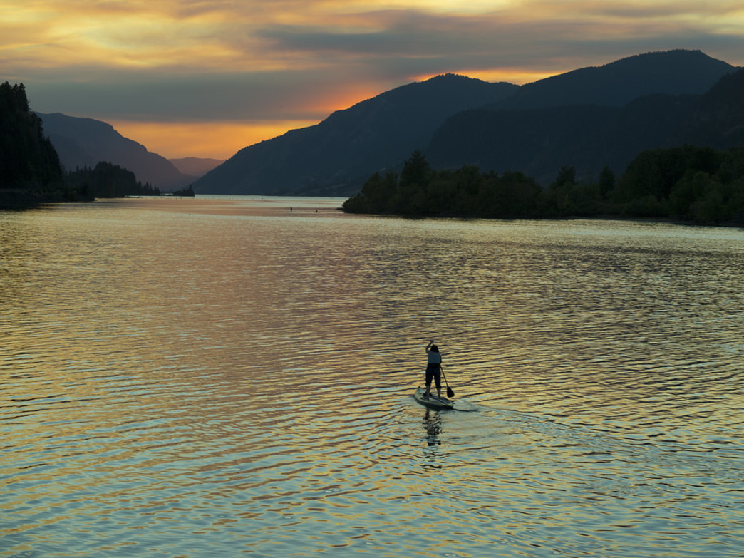 Enjoying a sunset paddle in the Columbia River Gorge