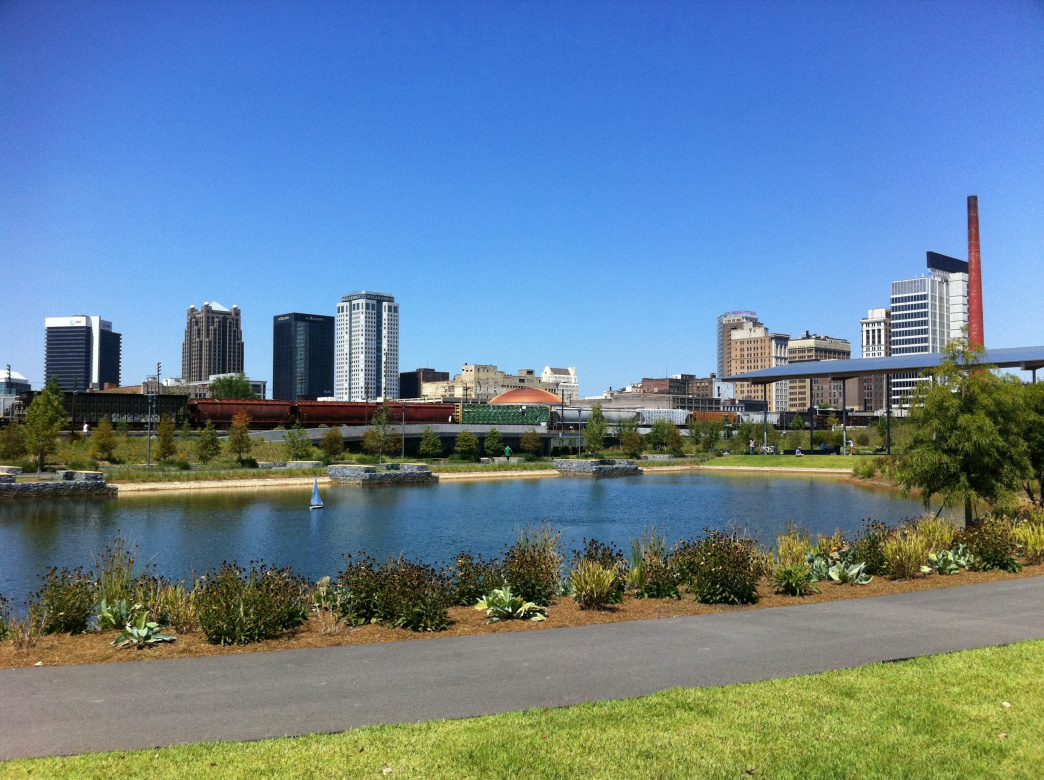 Beautiful View of Birmingham City Skyline from Railroad Park.