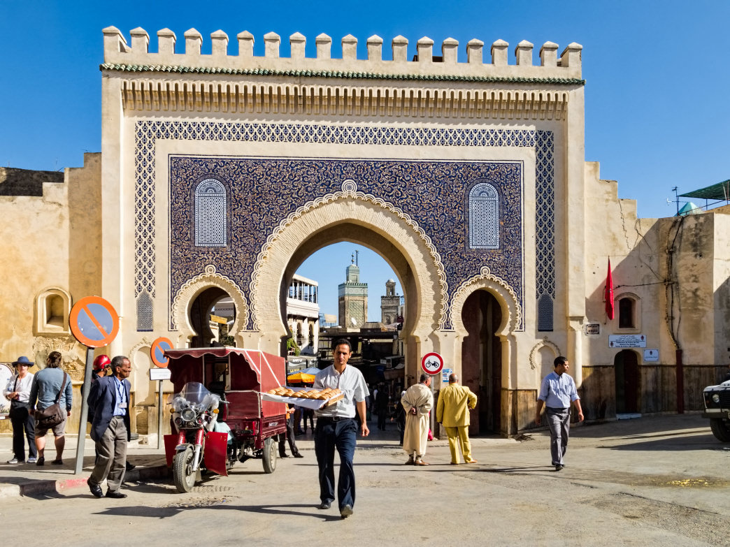 The Bab Boujloud gate is the main entrance to the medina in Fes.