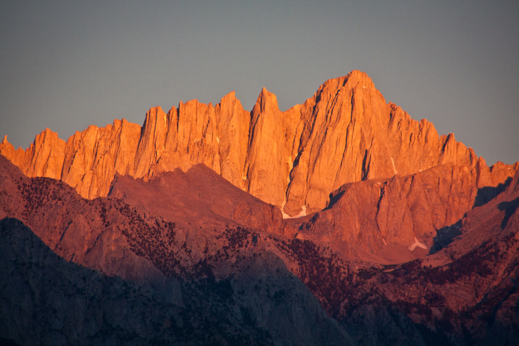 California's stunning Mount Whitney at golden hour.