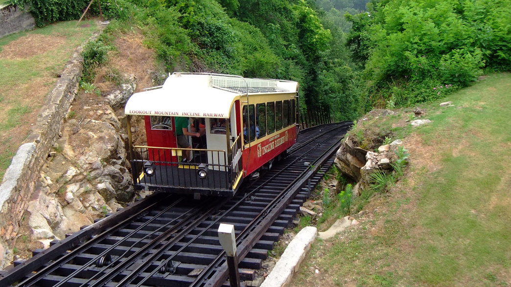 Sit back and enjoy the view as the train climbs a 72.7% grade on the Tennessee Chattanooga Incline Railway.