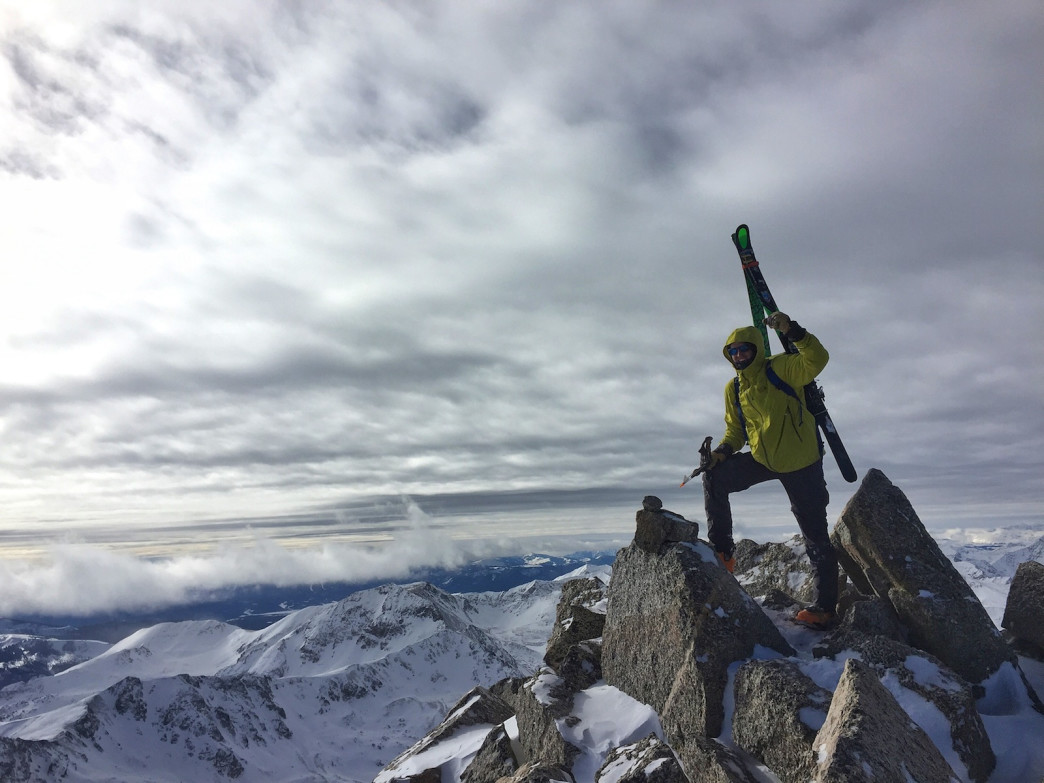 Kedrowski skied off 14,420-foot Mount Harvard on January 16, 2016.