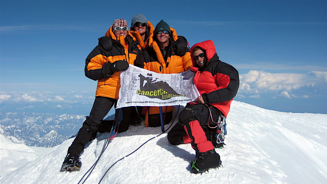 Swarner and his crew on the summit of Denali, North America's highest peak.