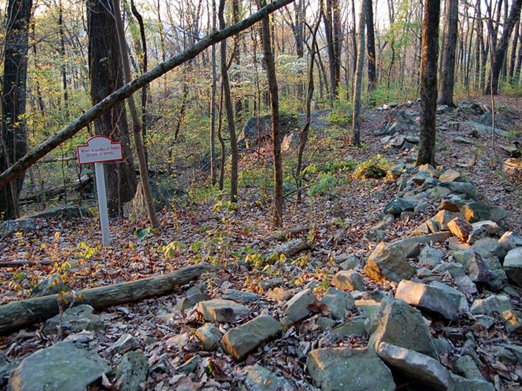 Remains of Confederate breastworks near Cravens House.