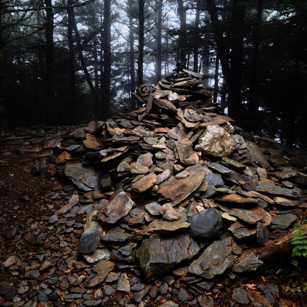 The giant cairn at High Top marks the true summit of Mount LeConte.