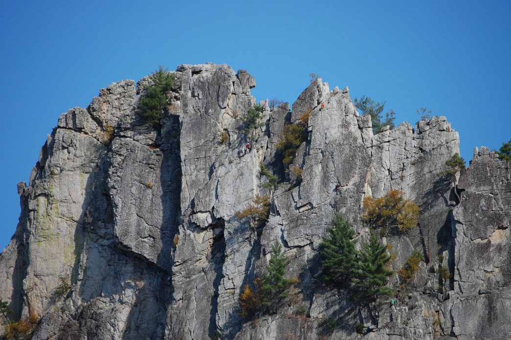 Seneca Rocks has a variety of routes for beginner to more experienced climbers.