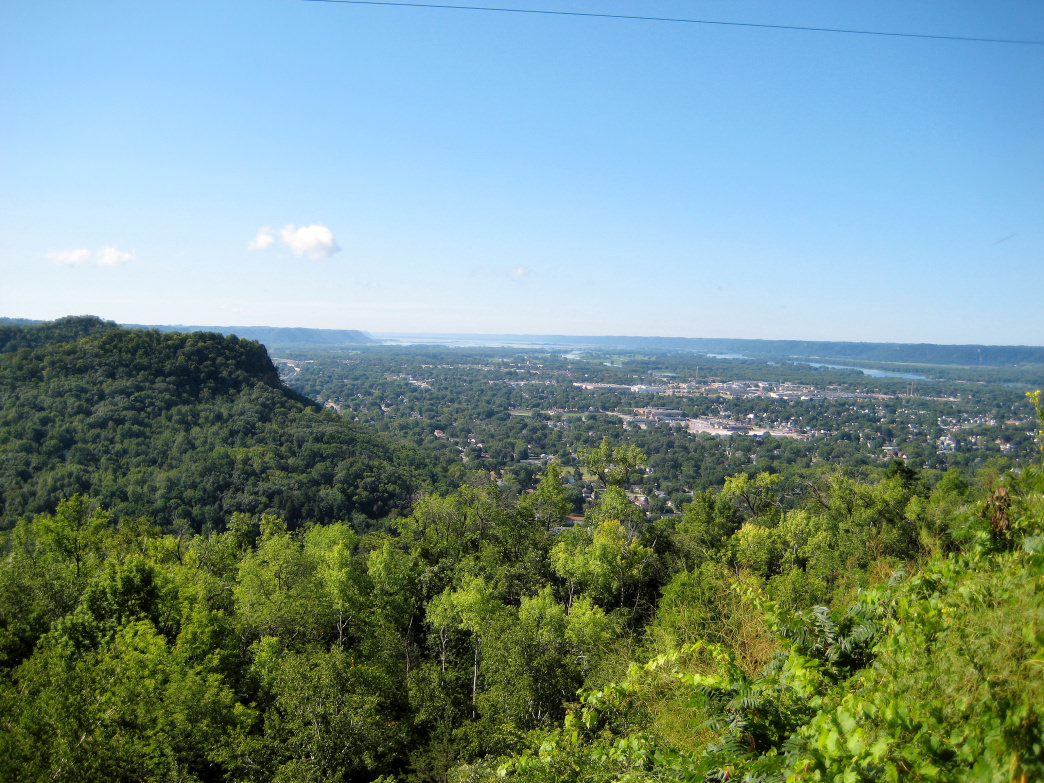 The tough climb up Grandad Bluff is worth it for the sweeping vistas of LaCrosse and surrounding countryside.
