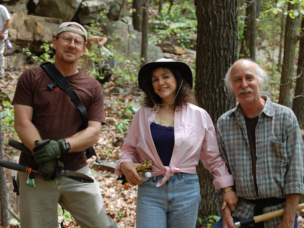 Yellow Bluff pioneers Brad Killough, Betty Jo Merchant, and Roy Simmons at an SCC trail day.