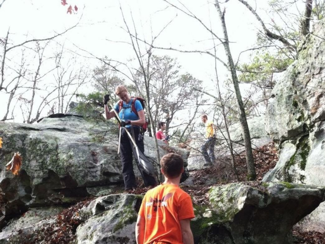 SCC sponsored trail cleanup day at Hospital Boulders in Gadsden, Ga.