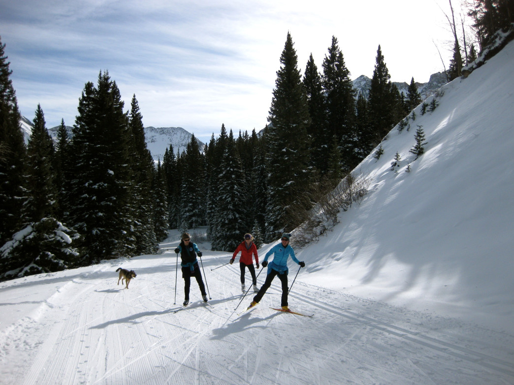 A trio of skate skiers on a sunny day in the San Juans.