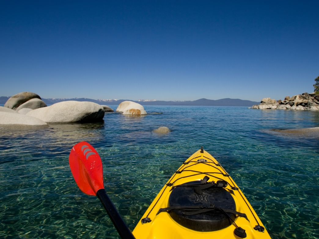 Spring kayaking on Lake Tahoe's east shore is one of the most scenic paddles in the country.