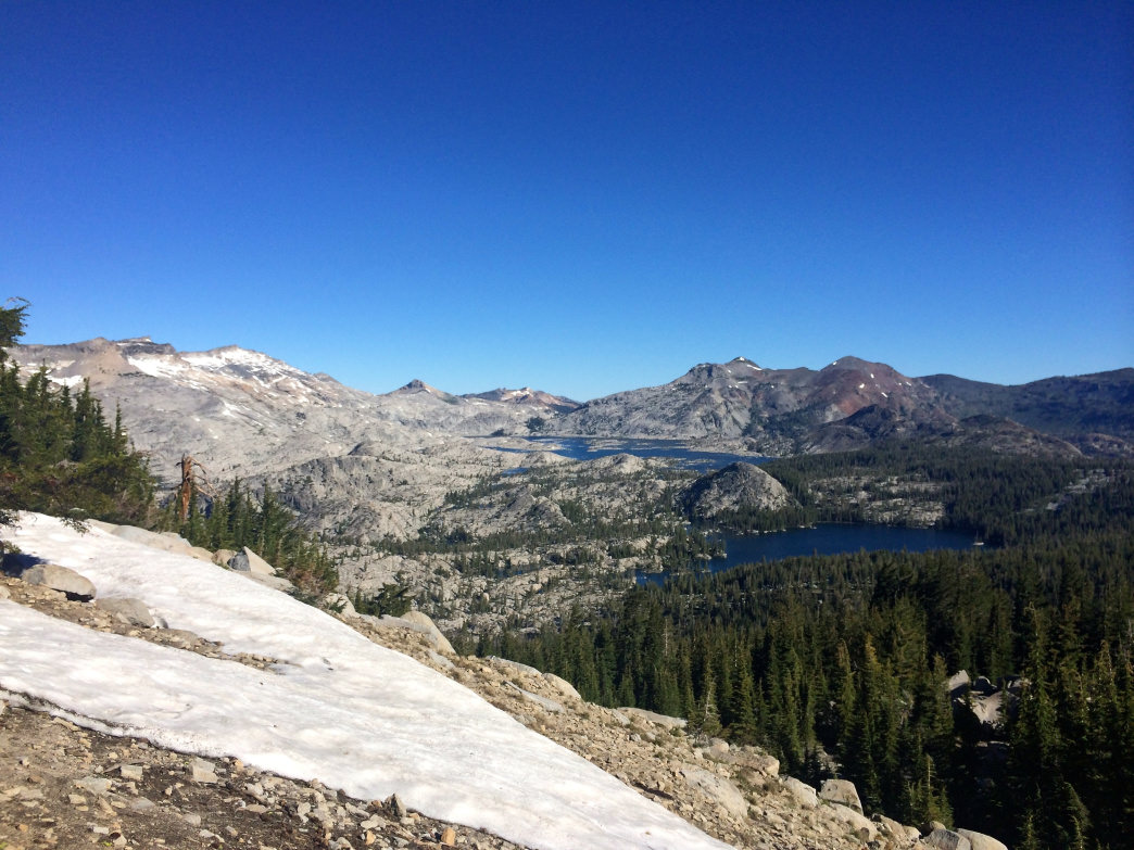 Granite slabs and mountain lakes in Desolation Wilderness.