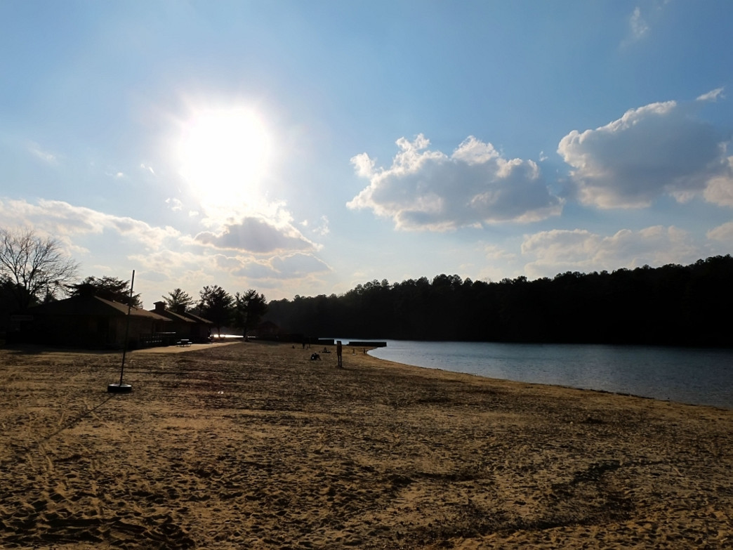 Lounge on the soft sands of Oak Mountain State Park's beach
