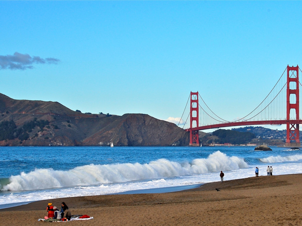 A view of the Golden Gate Bridge from the ever-inviting Baker Beach.