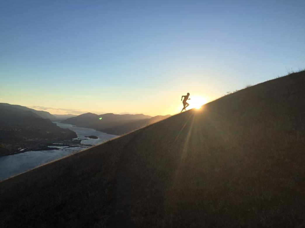Trail running high above the Columbia River Gorge