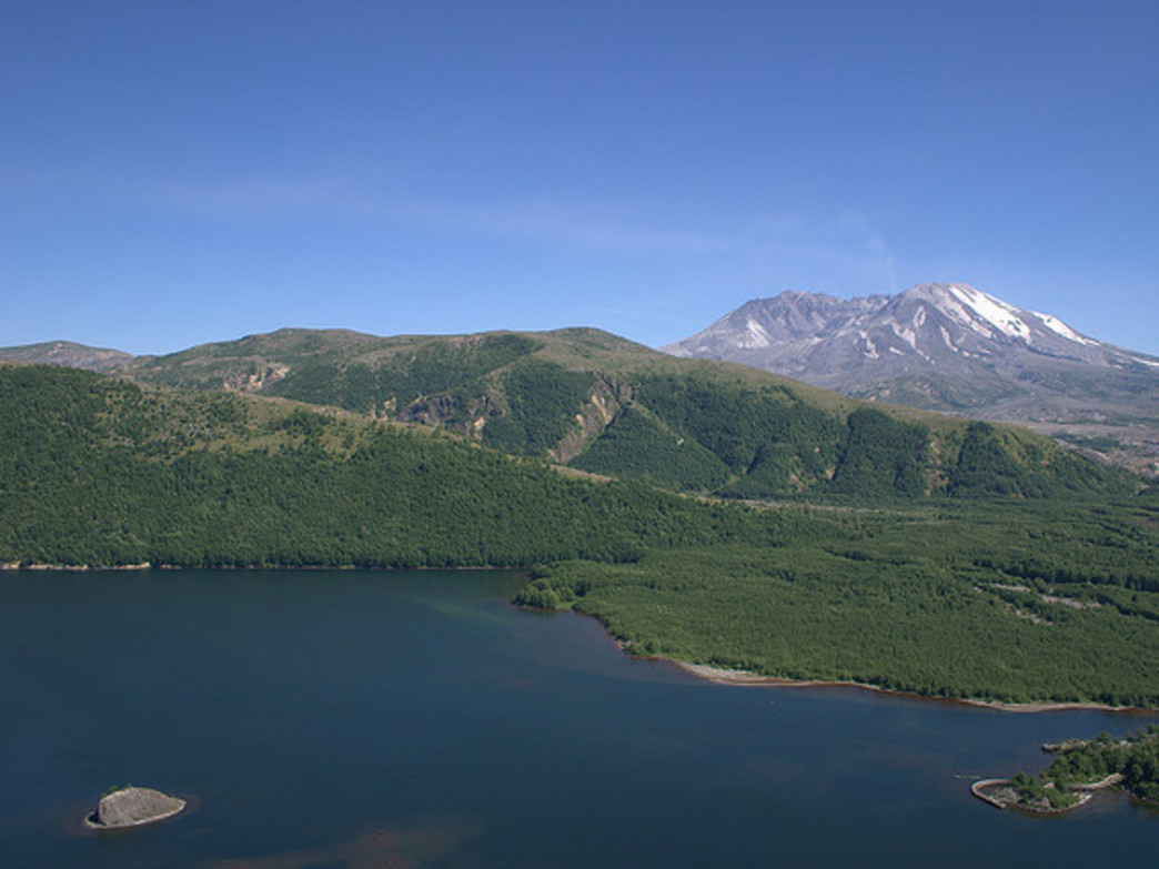 The Lakes Trail, which circles Coldwater Lake, offers impressive views of Mount St. Helens.