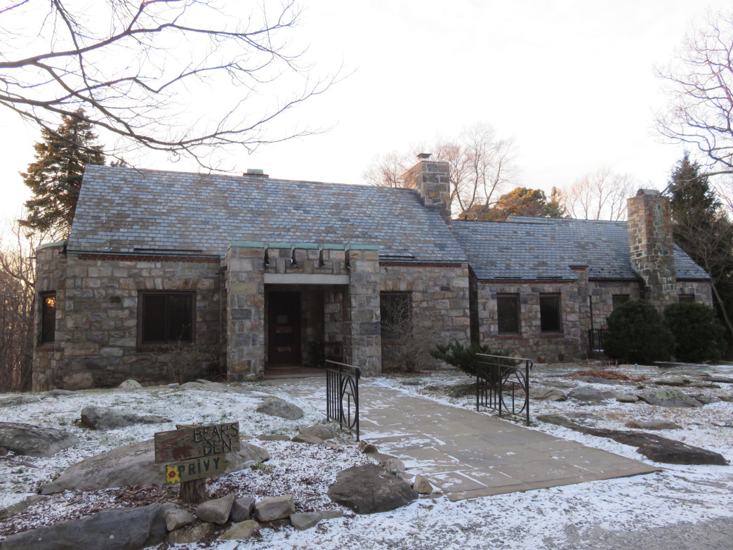 The stone lodge at Bears Den is available for overnight stays.