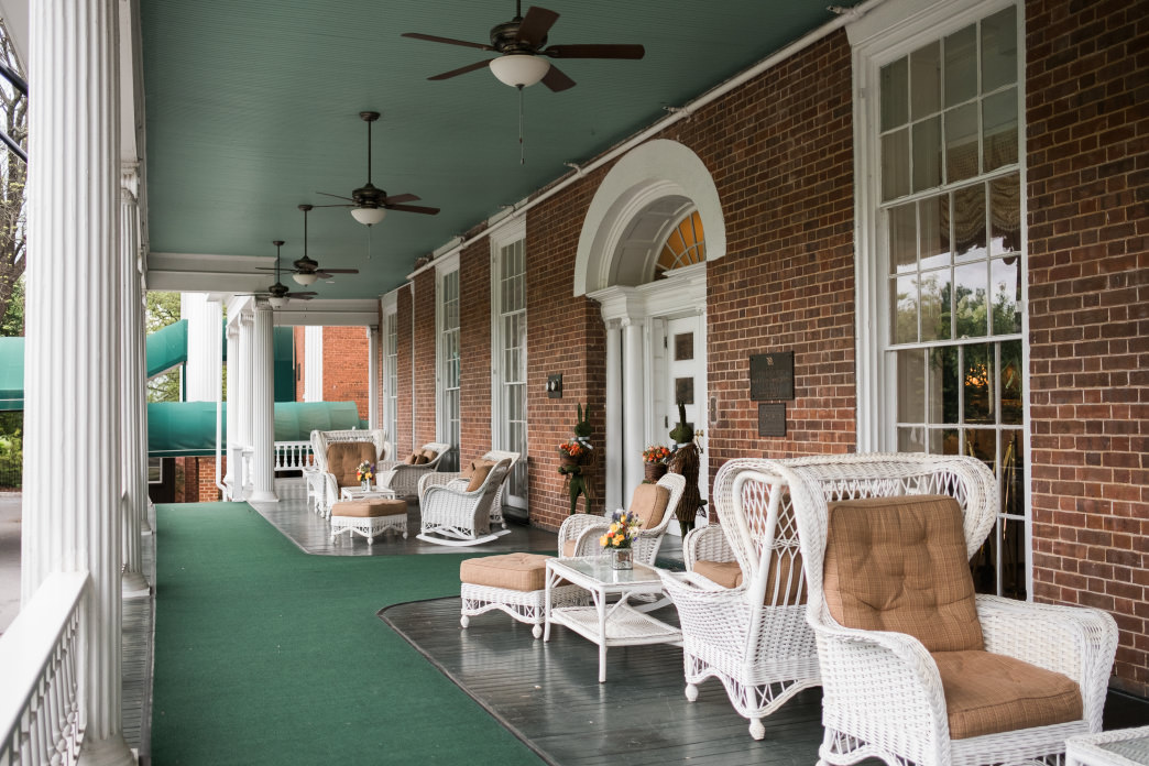 The front porch of the historic Martha Washington Inn in Abingdon is a great place to sit and relax after a day on the trails.