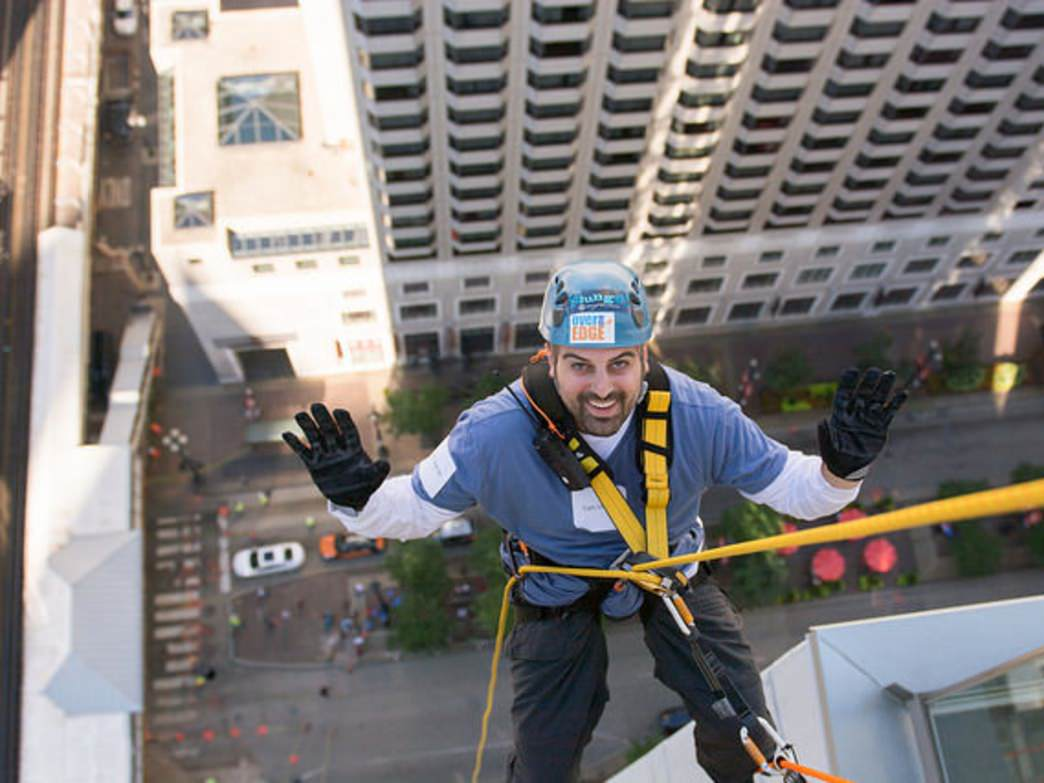 Rappelling down theWit Hotel at the Skyline Plunge.