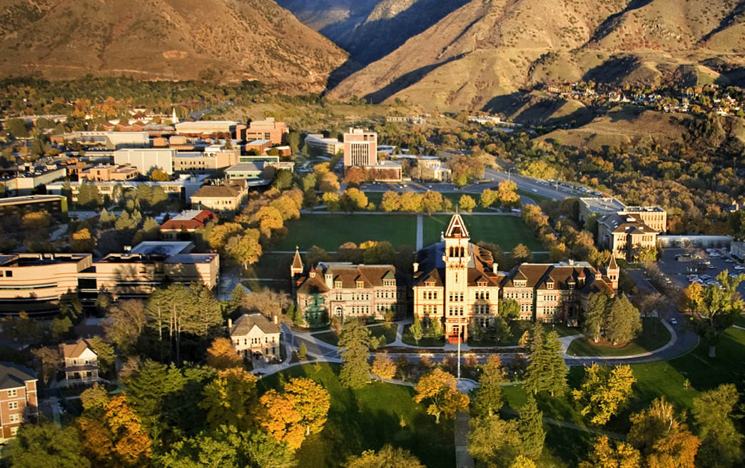 Utah State University's Old Main building, built in 1891, sits prominently on the Logan bench. Permanent settlement in Logan dates back to 1859, when Brigham Young organized a group to build a fort on the Logan River.