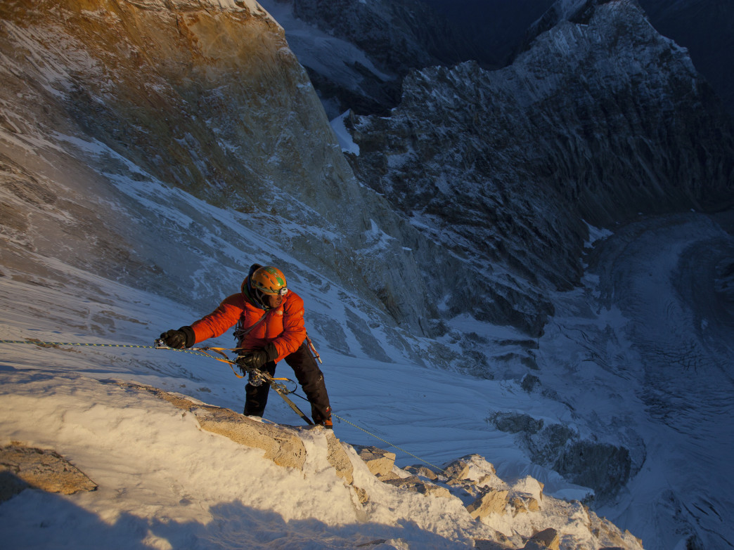 Chin works his way up the mountain during the 2011 expedition.