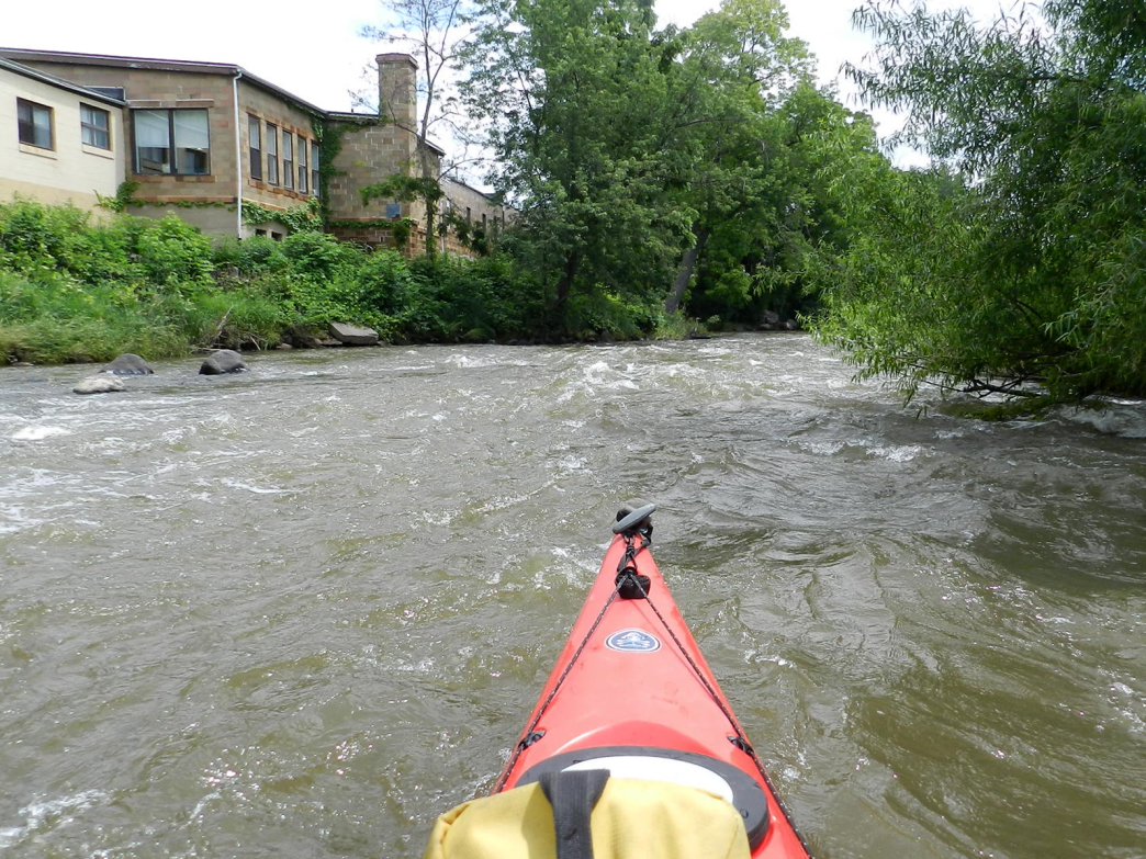 Riding the rapids through downtown Baraboo