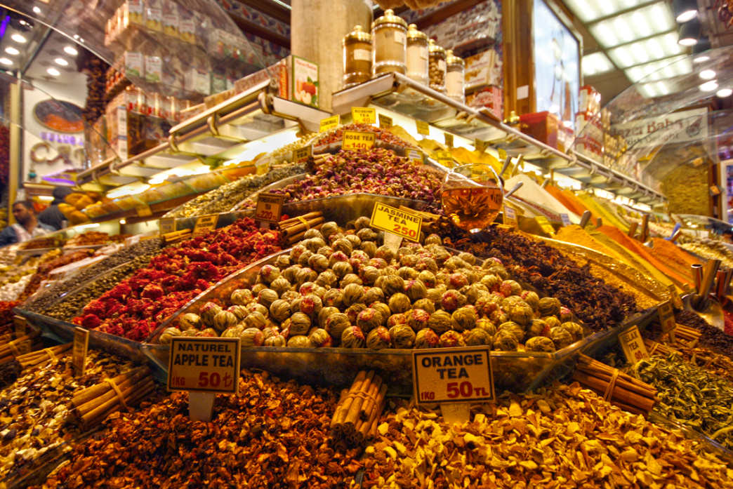 The Egyptian Bazaar in Istanbul is full of exotic teas and spices.