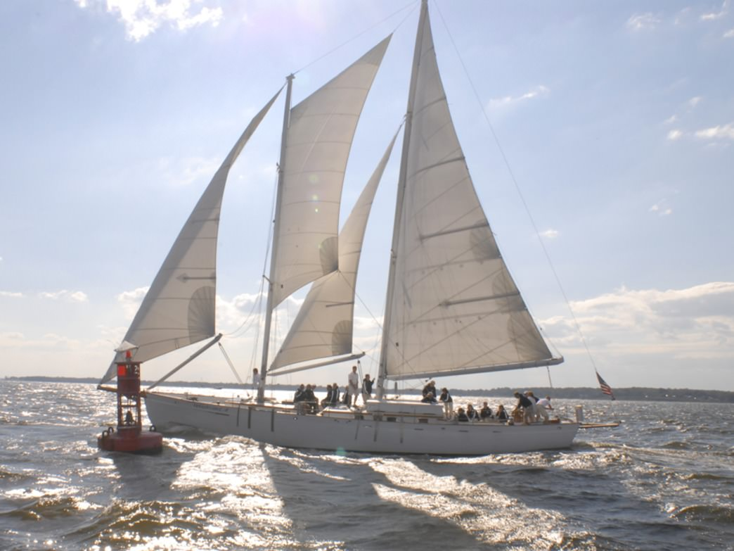 Enjoy the Chesapeake Bay with a two-hour sail on a 74 foot schooner