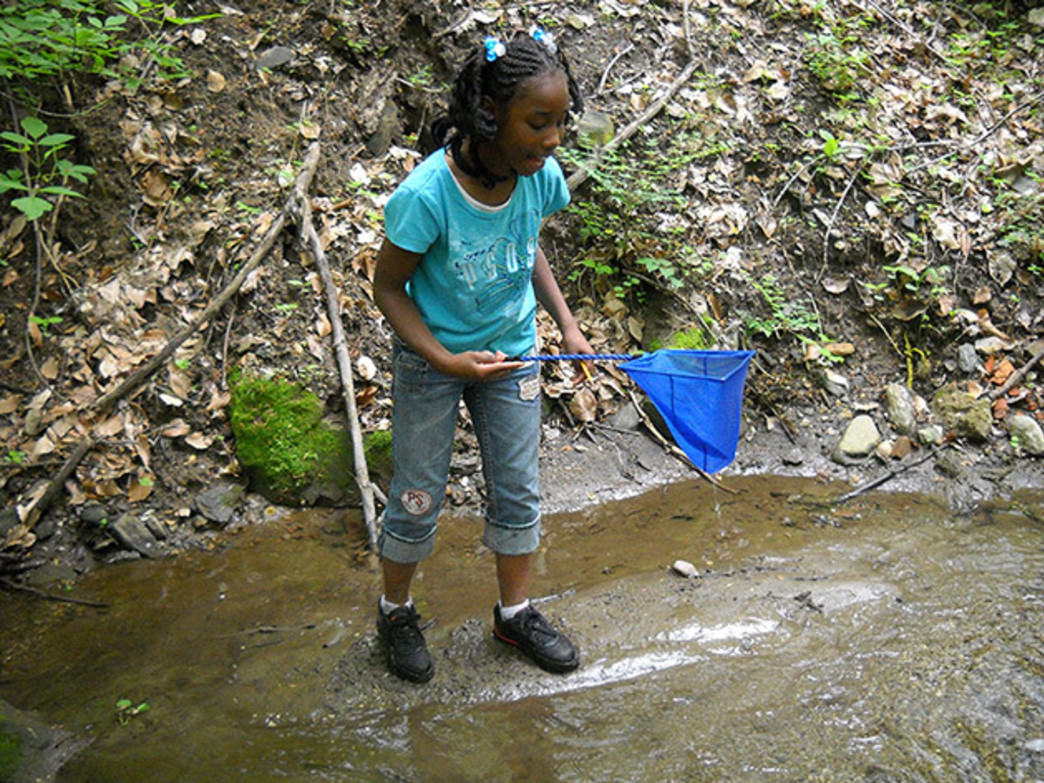 A girl wades in a creek near the Boxer's Trail.