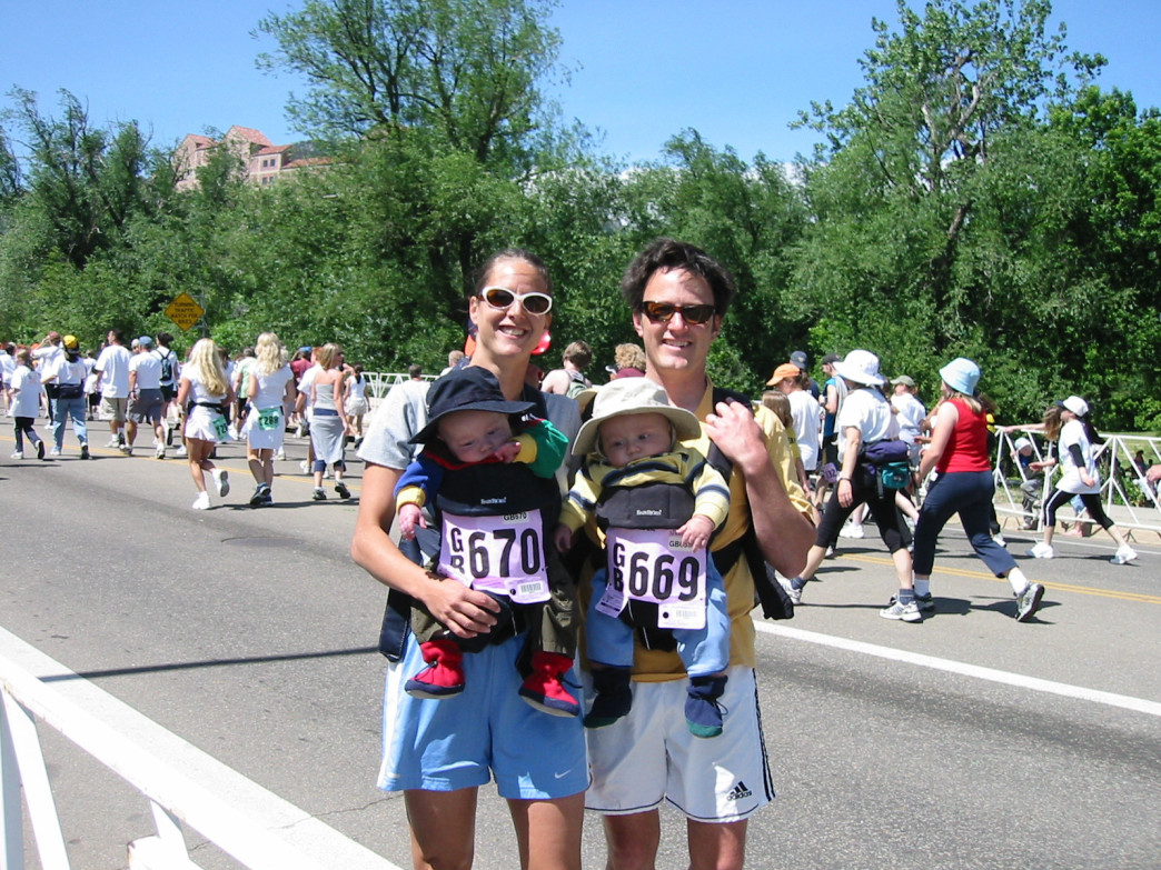 When their kids were tiny tots, Dale and Amy Hubbard of Boulder carried them during the race.